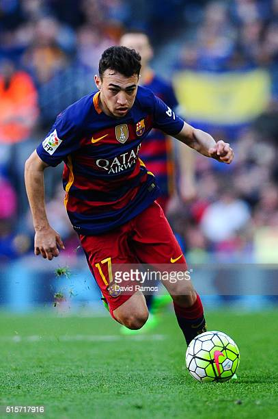 Munir el Haddadhi of FC Barcelona runs with the ball during the La Liga match between FC Barcelona and Getafe CF at Camp Nou on March 12 2016 in...