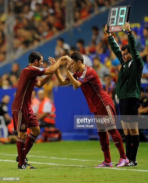 Munir El Haddadi comes on in his debut for Spain during the UEFA EURO 2016 Group C Qualifier between Spain and FYR of Macedonia at Estadio Ciutat de...