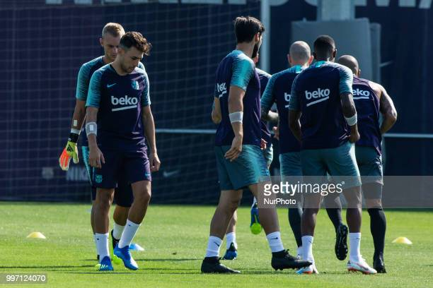Munir El Haddadi from Spain during the first FC Barcelona training session of the 2018/2019 La Liga pre season in Ciutat Esportiva Joan Gamper...