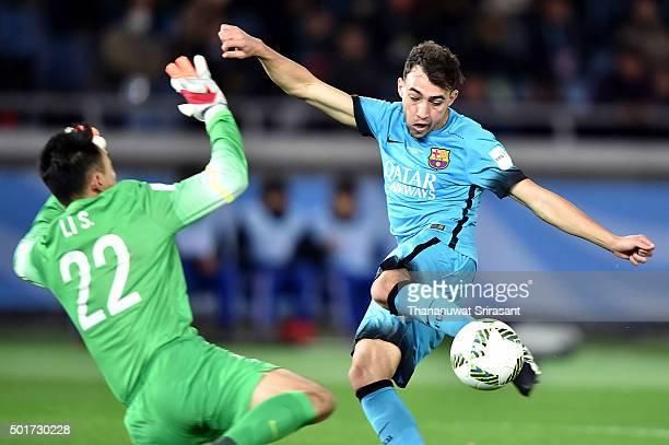 Munir El Haddadi of Bacelona kicks the ball during the FIFA Club World Cup Semi Final match between Barcelona and Guangzhou Evergrande FC at...