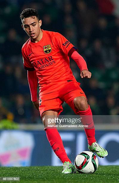 Munir El Haddadi of Barcelona in action during the Copa del Rey Round of 16 Second Leg match between Elche FC and FC Barcelona at Estadio Manuel...