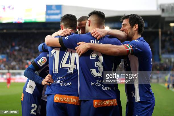 Munir El Haddadi of Deportivo Alaves celebrates 20 with Burgui of Deportivo Alaves Ruben Duarte of Deportivo Alaves during the La Liga Santander...