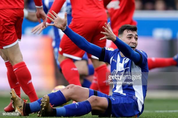 Munir El Haddadi of Deportivo Alaves during the La Liga Santander match between Deportivo Alaves v Sevilla at the Estadio de Mendizorroza on January...