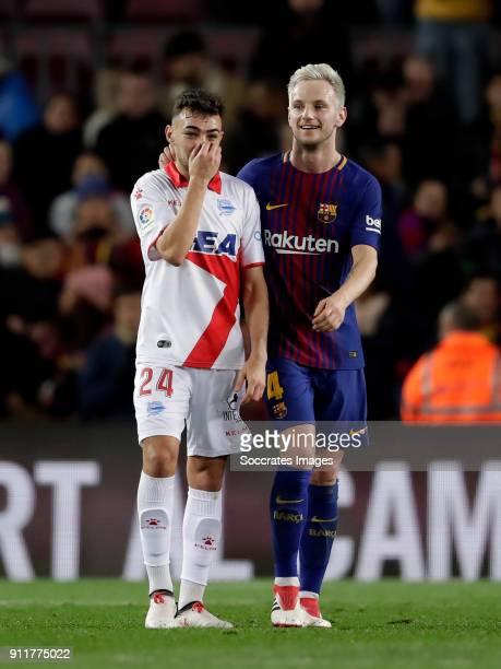 Munir El Haddadi of Deportivo Alaves Ivan Rakitic of FC Barcelona during the La Liga Santander match between FC Barcelona v Deportivo Alaves at the...
