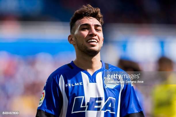 Munir El Haddadi of Deportivo Alaves reacts during the La Liga match between Deportivo Alaves and Villarreal CF at Mendizorroza stadium on September...