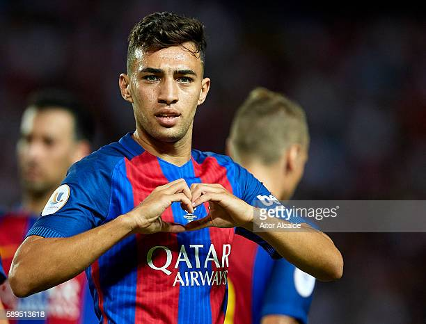 Munir El Haddadi of FC Barcelona celebrates after scoring during the match between Sevilla FC vs FC Barcelona as part of the Spanish Super Cup Final...