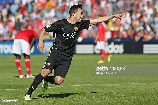 Munir El Haddadi of FC Barcelona celebrates his goal during the UEFA Youth League Final match between Benfica Lisbon and FC Barcelona at Colovray...