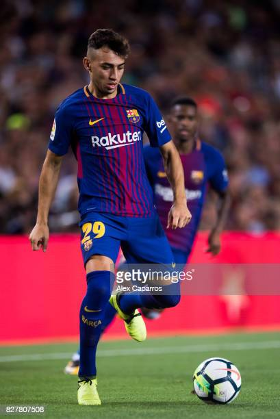 Munir El Haddadi of FC Barcelona conducts the ball during the Joan Gamper Trophy match between FC Barcelona and Chapecoense at Camp Nou stadium on...