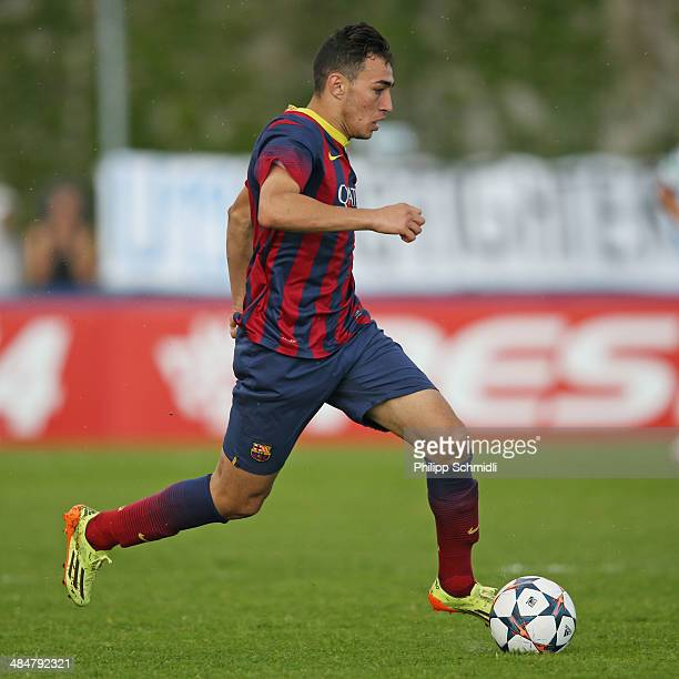Munir El Haddadi of FC Barcelona during the UEFA Youth League Semi Final match between Schalke 04 and FC Barcelona at Colovray Stadion on April 11...