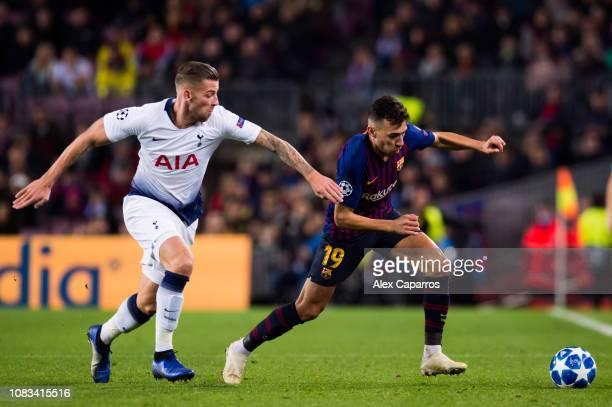 Munir El Haddadi of FC Barcelona evades Toby Alderweireld of Tottenham Hotspur during the UEFA Champions League Group B match between FC Barcelona...