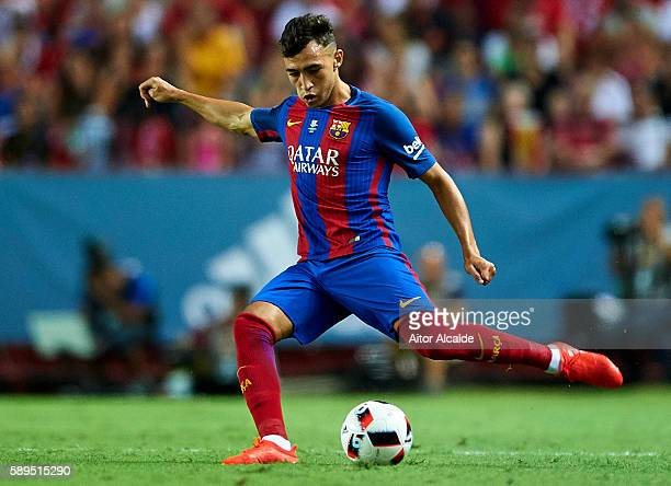 Munir El Haddadi of FC Barcelona in action during the match between Sevilla FC vs FC Barcelona as part of the Spanish Super Cup Final 1st Leg at...