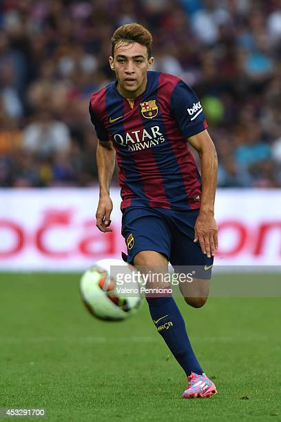 Munir El Haddadi of FC Barcelona in action during the preseason friendly match between FC Barcelona and SSC Napoli on August 6 2014 in Geneva...