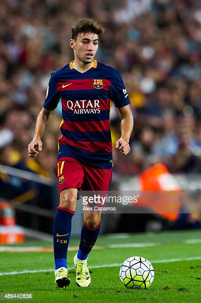 Munir El Haddadi of FC Barcelona runs with the ball during the La Liga match between FC Barcelona and Levante UD at Camp Nou on September 20 2015 in...