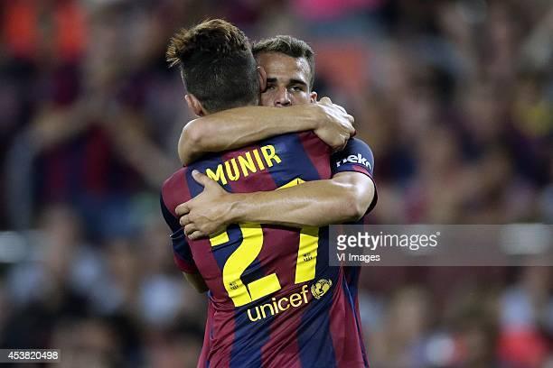 Munir El Haddadi of FC Barcelona Sandro Ramirez of FC Barcelona during the Joan Gamper Trophy match between FC Barcelona and Leon FC at Camp Nou on...