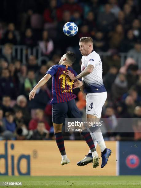 Munir El Haddadi of FC Barcelona Toby Alderweireld of Tottenham Hotspur FC during the UEFA Champions League group B match between FC Barcelona and...