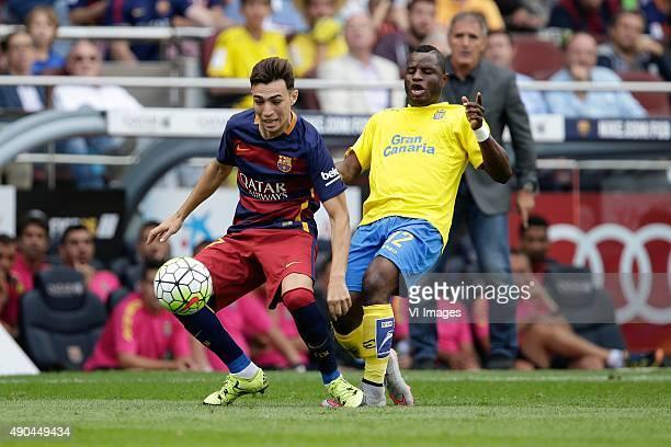 Munir El Haddadi of FC Barcelona Wakaso of Las Palmas during the Primera Division match between FC Barcelona and Las Palmas on September 26 2015 at...