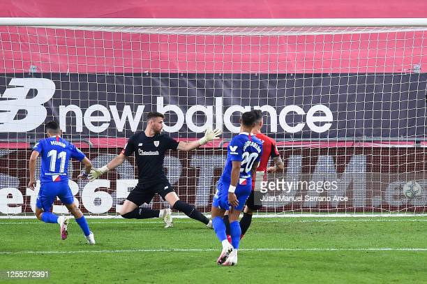 Munir El Haddadi of Sevilla FC scores his team's second goal during the Liga match between Athletic Club and Sevilla FC at San Mames Stadium on July...