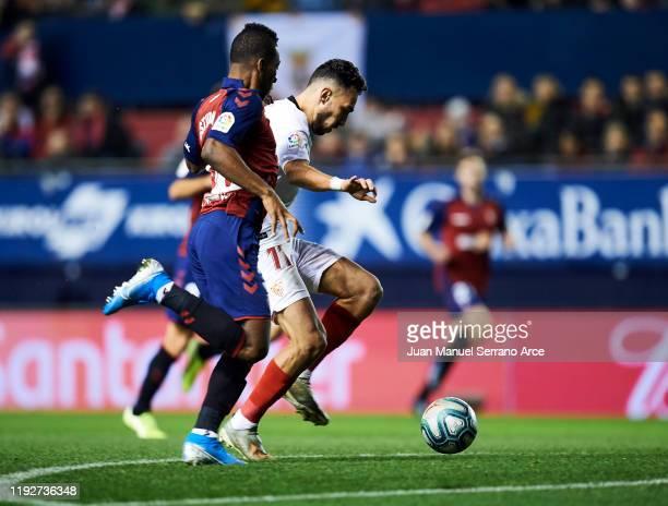Munir El Haddadi of Sevilla FC scoring goal during the Liga match between CA Osasuna and Sevilla FC at El Sadar Stadium on December 08 2019 in...