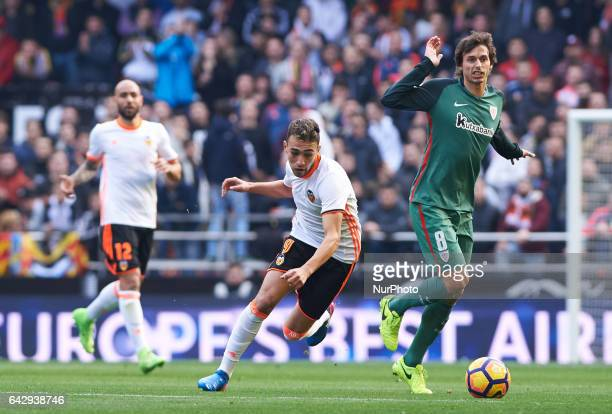 Munir El Haddadi of Valencia CF and Ander Iturraspe of Athletic Club de Bilbao during their La Liga match between Valencia CF and Athletic Club de...