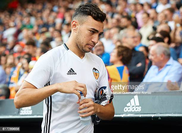 Munir El Haddadi of Valencia CF looks on prior to the La Liga match between Valencia CF and FC Barcelona at Mestalla Stadium on October 22 2016 in...