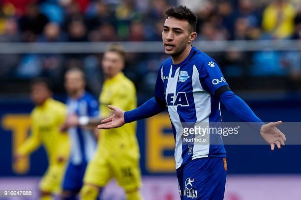 Munir of Deportivo Alaves reacts during the La Liga match between Villarreal CF and Deportivo Alaves at Estadio de la Ceramica on February 10 2018 in...