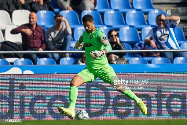 Munir of Malaga CF in action during the La Liga Smartbank match between Deportivo de La Coruna and Malaga CF at Abanca Riazor Stadium on October 20...