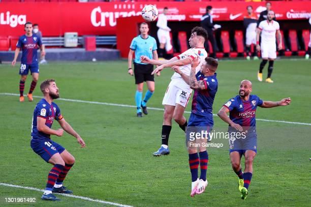 Munir of Sevilla scores his team's first goal during the La Liga Santander match between Sevilla FC and SD Huesca at Estadio Ramon Sanchez Pizjuan on...