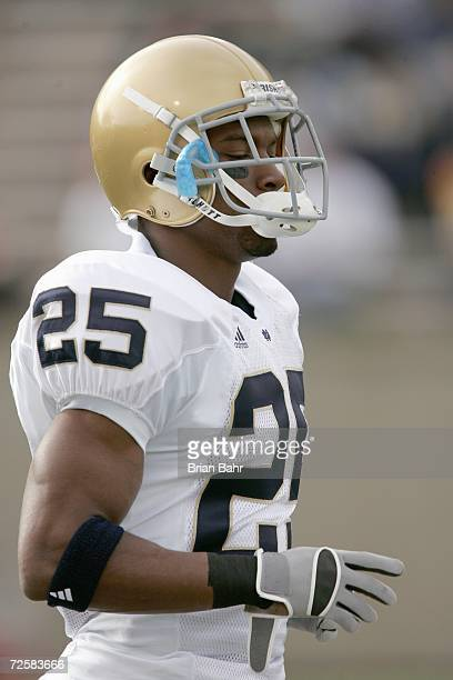 Munir Prince of the Notre Dame Fighting Irish moves on the field before the game against the Air Force Falcons on November 11 2006 at Falcon Stadium...