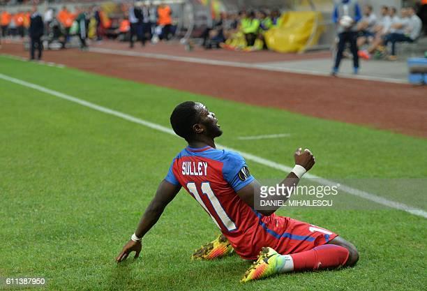 Muniru Sulley of Steaua Bucharest celebrates after he scored 11 goal during the UEFA Europa League firstleg football match between Steaua Bucharest...