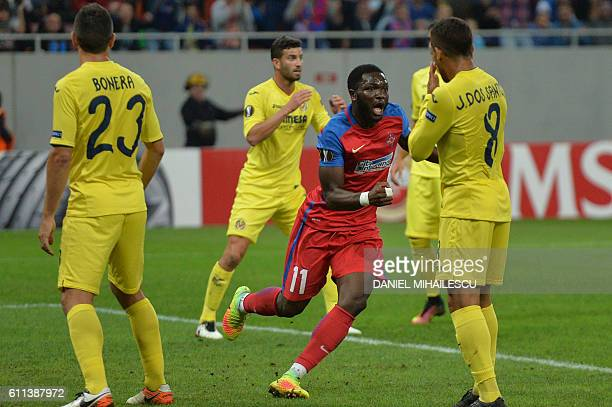 Muniru Sulley of Steaua Bucharest celebrates after he scored 11 goal during the UEFA Europa League firstleg football match between Steaua Bucharest...