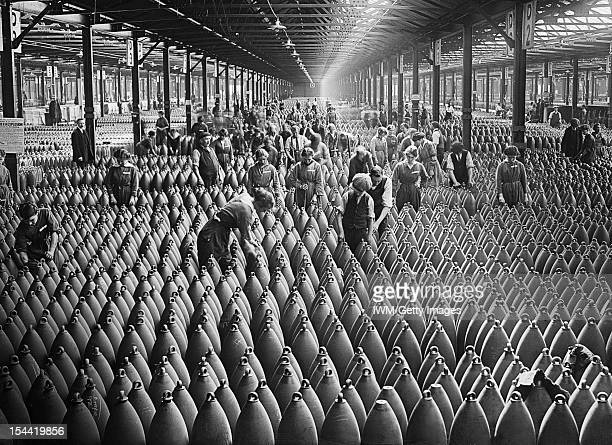 Munitions Production On The Home Front During The First World War, Chilwell, Nottinghamshire, c. 1917, Munition workers in a shell warehouse at...
