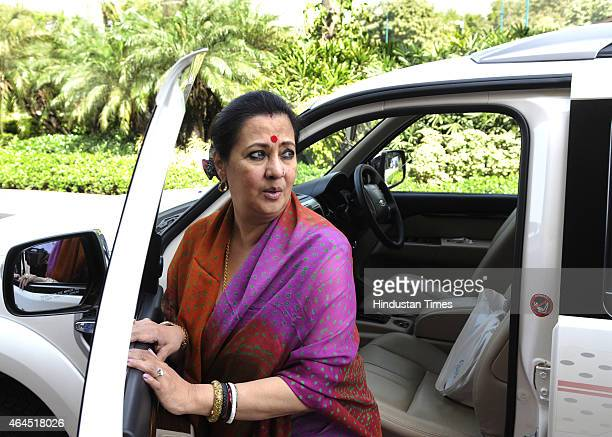 Munmun Sen arrives at Parliament House during the Budget Session on February 26 2015 in New Delhi India Railway Minister Suresh Prabhu presented the...