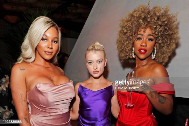 Munroe Bergdorf, Alice Chater and Chidera Eggerue attend the Vanity Fair EE Rising Star Award Party ahead of the 2020 EE BAFTAs at The Standard...