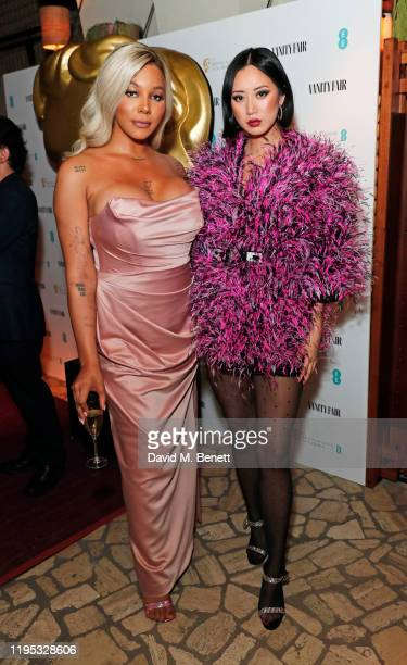 Munroe Bergdorf and Betty Bachz attend the Vanity Fair EE Rising Star Award Party ahead of the 2020 EE BAFTAs at The Standard London on January 22,...