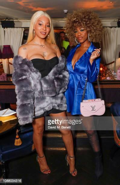 Munroe Bergdorf and Chidera Eggerue attend a VIP dinner celebrating the Maya Jama x PrettyLittleThingcom collaboration at Park Chinois on January 24...