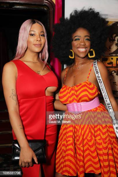 Munroe Bergdorf and Chidera Eggerue attend the LOVE Magazine 10th birthday party with PerrierJouet at Loulou's on September 17 2018 in London England