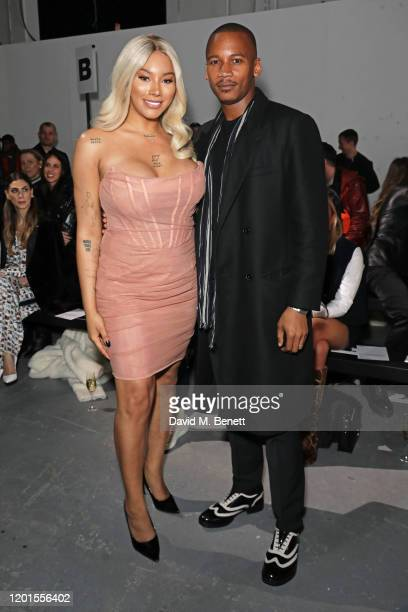 Munroe Bergdorf and Eric Underwood attend the International Woolmark Prize 19/20 Final during London Fashion Week February 2020 at Ambika P3 on...
