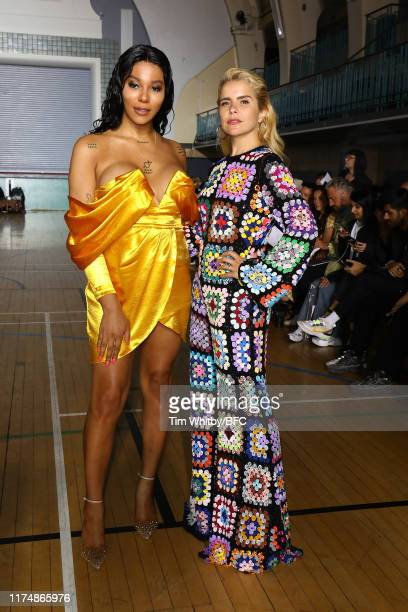 Munroe Bergdorf and Paloma Faith attend the Ashish show during London Fashion Week September 2019 at Seymour Hall on September 15 2019 in London...