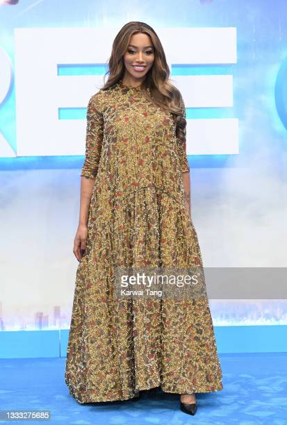 """Munroe Bergdorf attends the """"Free Guy"""" UK premiere at Cineworld Leicester Square on August 09, 2021 in London, England."""