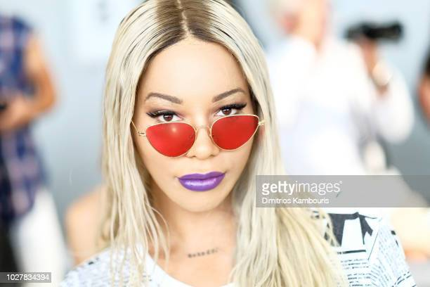 Munroe Bergdorf attends the Nana Judy front row during New York Fashion Week The Shows at Gallery II at Spring Studios on September 6 2018 in New...