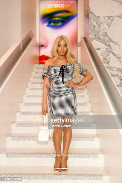 Munroe Bergdorf attends the Pat McGrath 'A Technicolour Odyssey' Campaign launch party at Brasserie of Light Selfridges on April 04 2019 in London...