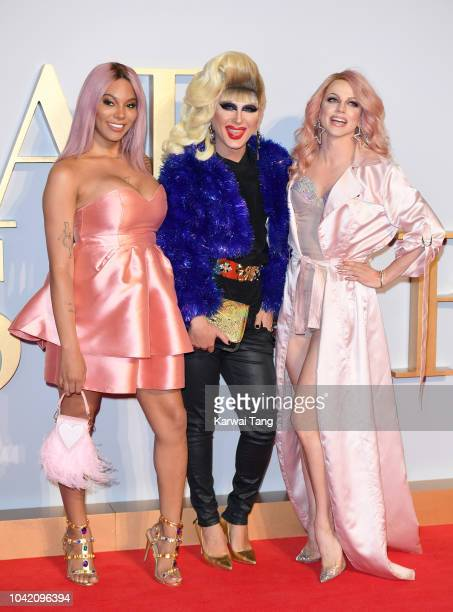 Munroe Bergdorf Jodie Harsh and Courtney Act attend the UK premiere of 'A Star Is Born' at the Vue West End on September 27 2018 in London England