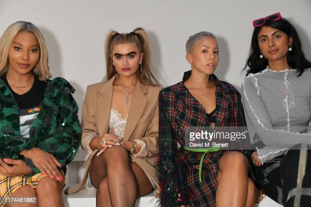 Munroe Bergdorf, Sophia Hadjipanteli, Poppy Ajudha and Simran Randhawa attend the Roberta Einer front row during London Fashion Week September 2019...