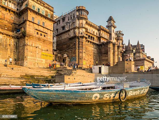 munshi ghat view from the ganges river varanasi india - ghat stock pictures, royalty-free photos & images