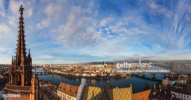 Munster church spire and high angle view of river Rhine, Basel, Switzerland