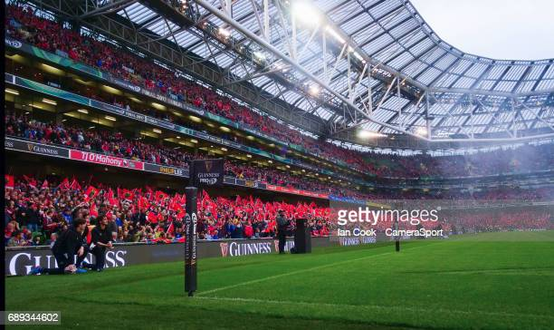 Munster fans wave there flags prior to kick off during the Guinness PRO12 Final match between Munster and Scarlets at the Aviva Stadium on May 27...