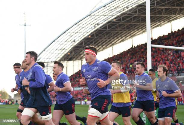 Munster Ireland 1 April 2017 Munster players including Donnacha Ryan Simon Zebo Peter O'Mahony Rory Scannell CJ Stander Andrew Conway Niall Scannell...