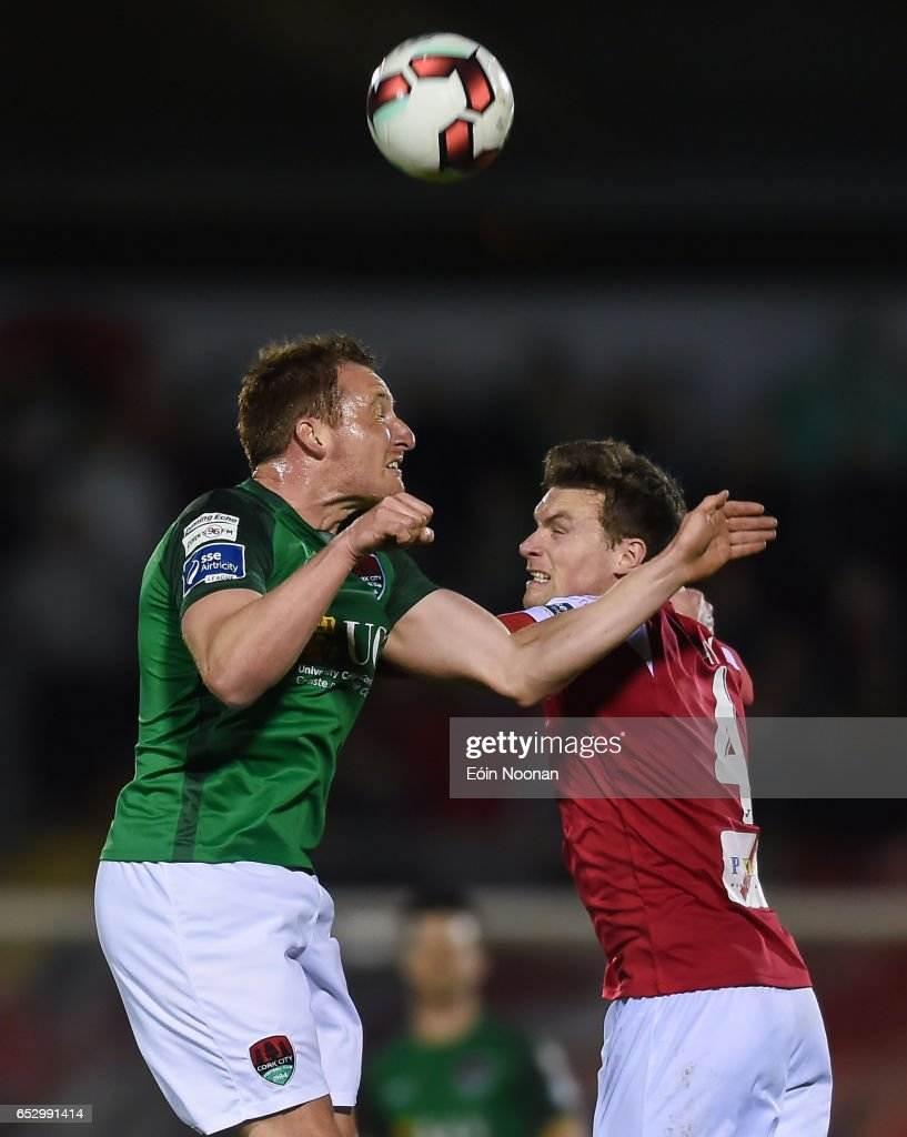 Munster , Ireland - 13 March 2017; Achille Campion of Cork City in action against Michael Leahy of Sligo Rovers during the SSE Airtricity League Premier Division match between Cork City and Sligo Rovers at Turners Cross in Cork.