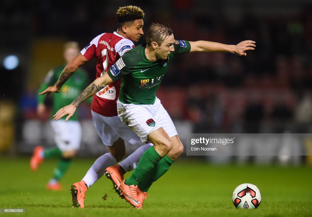 Munster , Ireland - 13 March 2017; Karl Sheppard of Cork City in action against Tobi Adebayo-Rowling of Sligo Rovers during the SSE Airtricity League Premier Division match between Cork City and Sligo Rovers at Turners Cross in Cork.
