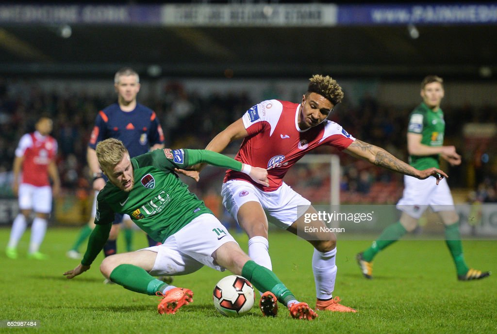 Munster , Ireland - 13 March 2017; Kevin O'Connor of Cork City in action against Tobi Adebayo-Rowling of Sligo Rovers during the SSE Airtricity League Premier Division match between Cork City and Sligo Rovers at Turners Cross in Cork.